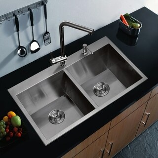 """33""""X22"""" 50/50 Double Bowl 16g SS Drop-In Kitchen Sink w Strainers"""