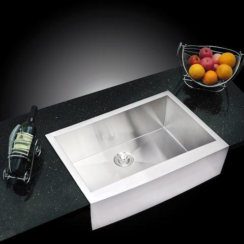"33""X22"" Single Bowl 16g SS Apron Kitchen Sink w Strainer, Grid"