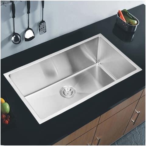 """32""""X19"""" Single Bowl 16g SS Undermount Kitchen Sink w Strainer, Grid"""