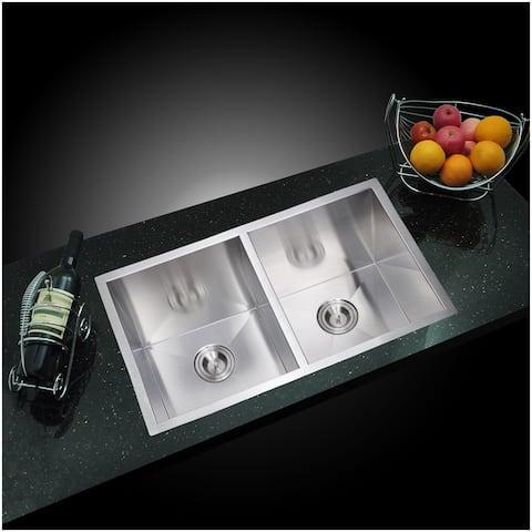 "31""X18"" 50/50 Double Bowl 16g SS Undermount Kitchen Sink w Strainers"