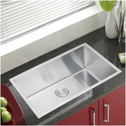 """30""""X18"""" Single Bowl 16g SS Undermount Kitchen Sink w Strainer"""