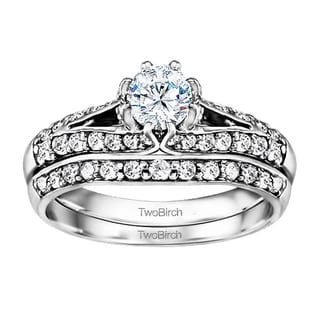 TwoBirch 14k Gold Engagment Ring And Wedding Ring 2 Set In Moissanite 1 11tw Clear