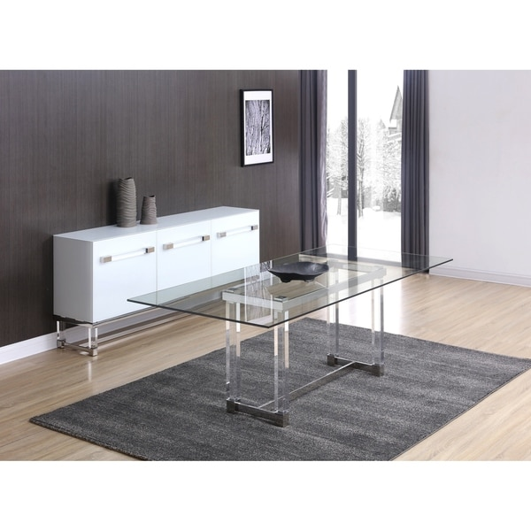 Shop Brianna Acrylic, Stainless Steel Dining Table with