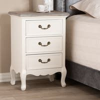 French Country Cottage 3-Drawer Nightstand