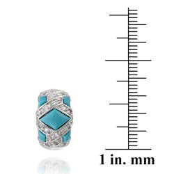 ICZ Stonez Sterling Silver Turquoise and CZ Earrings - Thumbnail 2