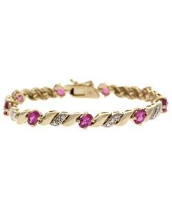 Glitzy Rocks 18k Gold Overlay Created Pink Sapphire Bracelet