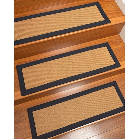 Natural Area Rugs 100% Natural Fiber Aston, Sisal Gold, Handmade Custom Stair Treads Carpet Set Of 4 Midnight Blue Border