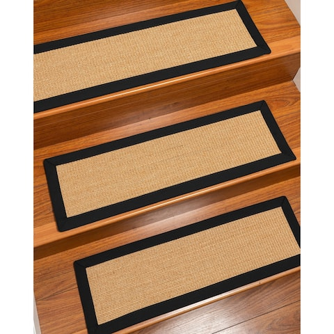 "Catalina, Sisal Gold/Multi, Handmade Custom Stair Treads Carpet Set Of 8 Black Border - 8PC (9"" x 29"")"