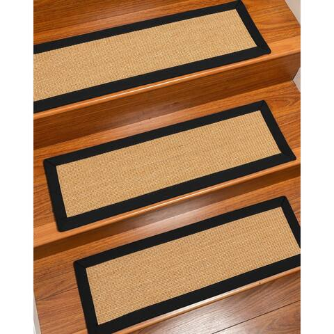 Natural Area Rugs 100% Natural Fiber Catalina, Sisal Gold/Multi, Handmade Custom Stair Treads Carpet Set Of 4 Black Border