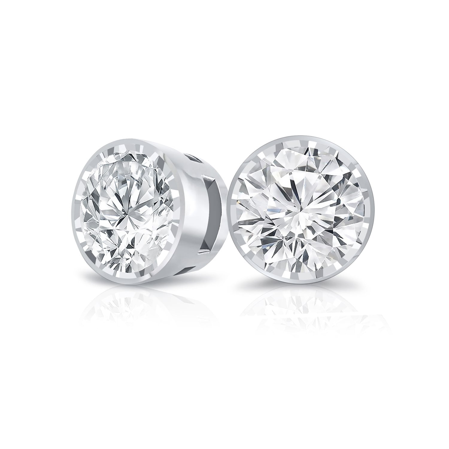 Created Diamond Round Bezel Earrings 14K Real Yellow Gold Studs Round-Cut 1//2CT