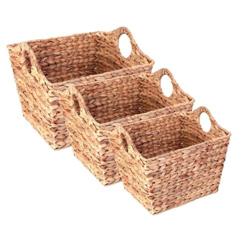 Water Hyacinth Rectangular Wicker Storage Baskets with Cutout Handles