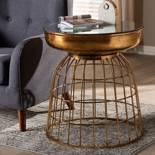 Contemporary Antique Gold Accent Table