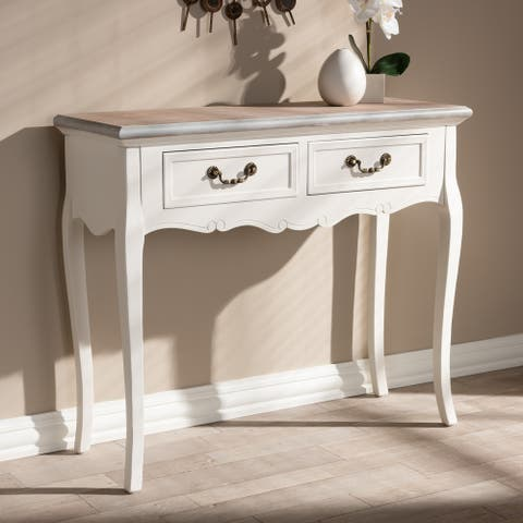 French Country 2-Drawer Console Table