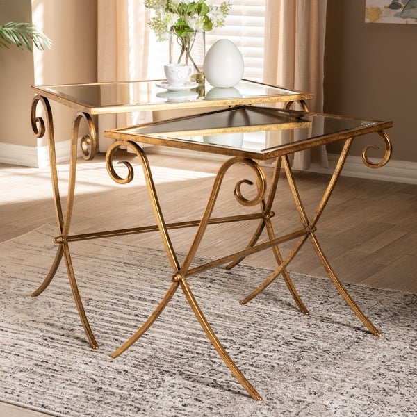 Stylecraft Barclay Brass 3 Piece Living Room Accent Table: Shop Contemporary Antique Gold 2-Piece Stackable Accent