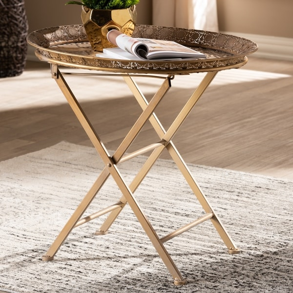 Moroccan Inspired Matte Antique Gold Foldable Accent Tray Table
