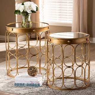 Contemporary Antique Gold 2-Piece Stackable Accent Table Set