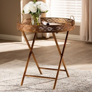 Vintage Style Antique Gold Accent Tray Table