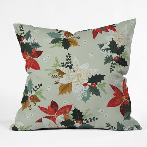 Deny Designs Holiday Floral Indoor/Outdoor Throw Pillow (4 sizes)