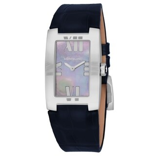 Mont Blanc Women's 104294 'Profile Elegance' Grey Mother of Pearl Dial Blue Leather Strap Swiss Quartz Watch