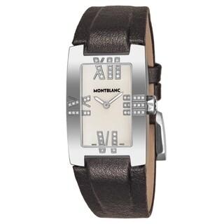 Mont Blanc Women's 106490 'Profile Elegance' Mother of Pearl Dial Black Leather Strap Diamond Quartz Watch