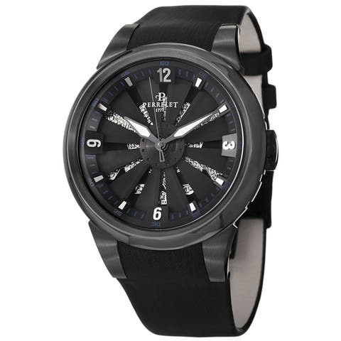 Perrelet Women's A4022/1 'Turbine Toxic/Skull' Black Diamond Dial Black Satin Leather Strap Special Edition Automatic Watch