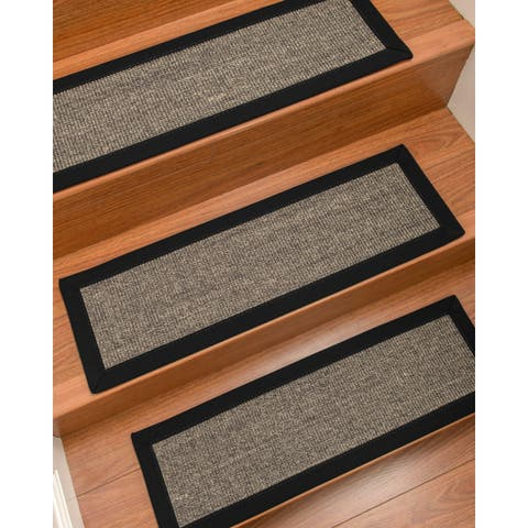 Natural Area Rugs 100% Natural Fiber Shadows, Sisal Greyish Blue, Handmade Custom Stair Treads Carpet Set Of 4 Black Border