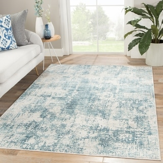 "Caden Abstract Blue/ Ivory Area Rug - 7'6"" x 9'6"""