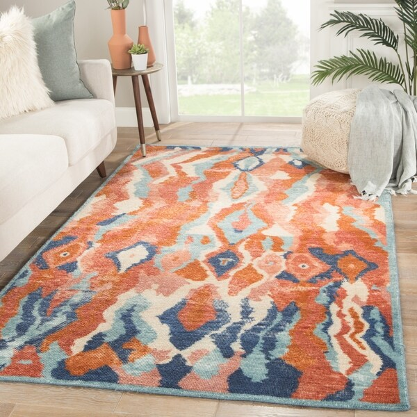 """Rooney Hand-Knotted Abstract Red/ Blue Area Rug - 7'10"""" x 10'"""