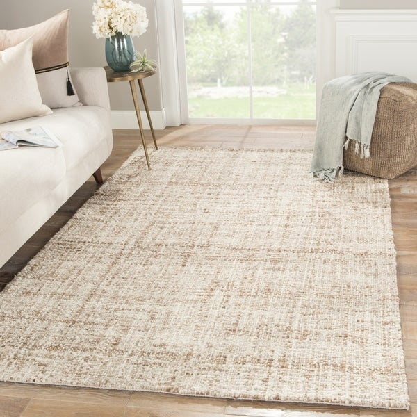 "Coltrane Handmade Solid Brown/ Ivory Area Rug - 7'10"" x 10'"