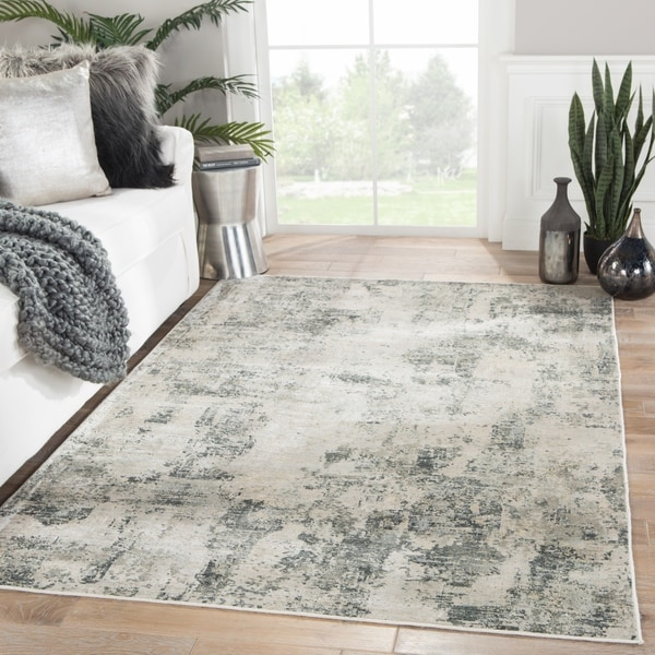 """Cas Abstract Gray/ Ivory Area Rug - 8'10"""" x 12'"""