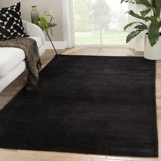 Phase Handmade Solid Black Area Rug - 5' x 8'
