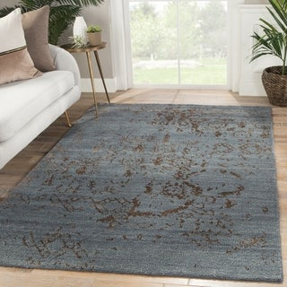 """Neila Hand-Knotted Abstract Blue/ Brown Area Rug - 7'10"""" x 10'10"""""""