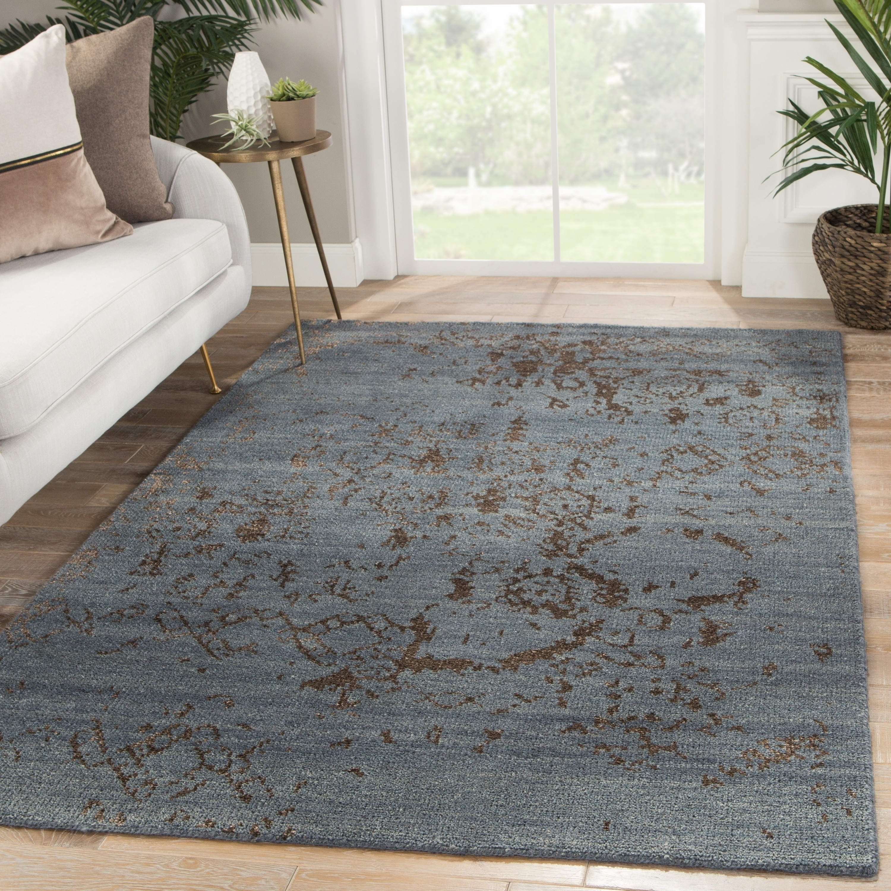 Shop Neila Hand Knotted Abstract Blue Brown Area Rug 9 X 13