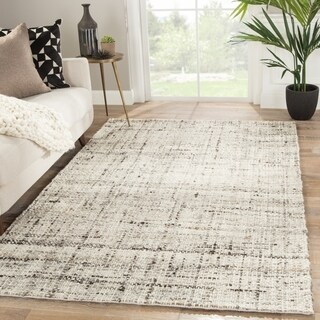Coltrane Solid Grey/Ivory Handmade Area Rug - 5' x 8'