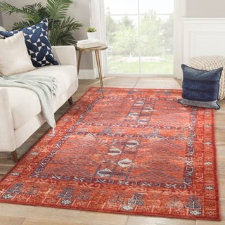 "Morrie Red/ Blue Wool Handmade Tribal Area Rug - 7'10"" x 10'"