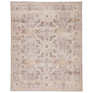 Virginia Hand-Knotted Medallion Gray/ Gold Area Rug - 5' x 8'