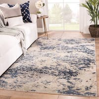 Tay Hand-Knotted Abstract Blue/ Taupe Area Rug - 9'x13'