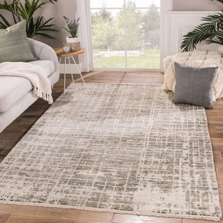 Peziah Hand-Knotted Abstract Ivory/ Gray Area Rug - 5' x 8'