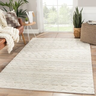 "Nikki Chu by Jaipur Living Elixir Handmade Geometric Ivory/ Light Gray Area Rug - 7'10"" x 10'"