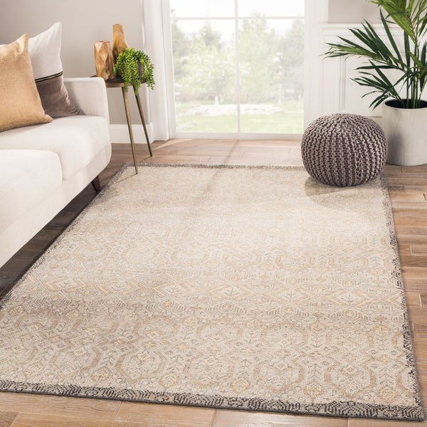 """Orson Hand-knotted Tribal Gray/ Gold Area Rug - 8'10"""" x 11'9"""""""