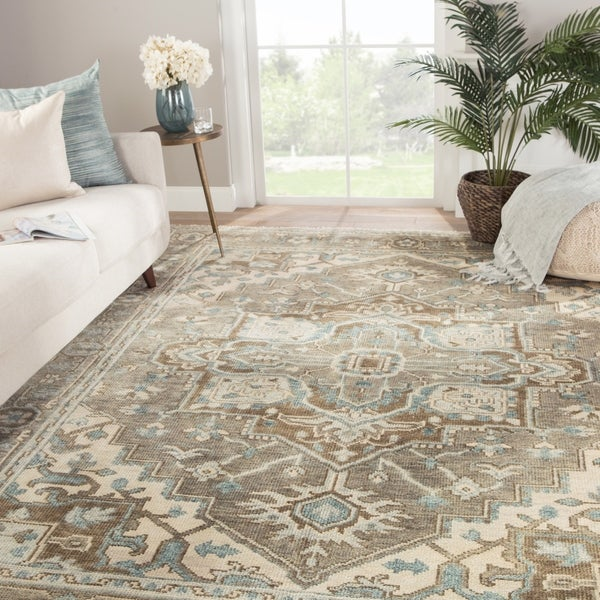"""Winter Hand-Knotted Medallion Gray/ Blue Area Rug - 7'9"""" x 9'9"""""""