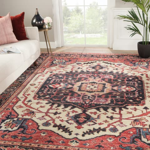 Zuly Hand-Knotted Medallion Red/ Purple Area Rug - 10' x 14'