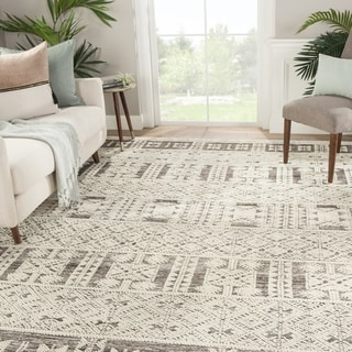 Royce Hand-Knotted Tribal Ivory/ Gray Area Rug - 5' x 8'