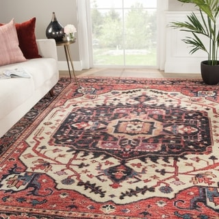 """Zuly Hand-Knotted Medallion Red/ Purple Area Rug - 7'9"""" x 9'9"""""""
