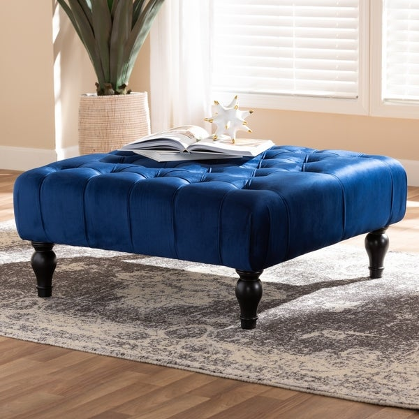 Transitional Velvet Fabric Cocktail Ottoman by Baxton Studio