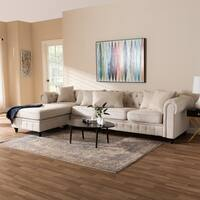 Traditional Fabric Chesterfield Reversible Sectional Sofa