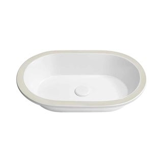 Ronbow Forge Oval Undermount White Ceramic Sink without Overflow