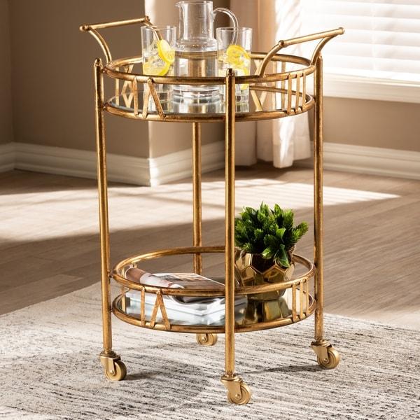 Contemporary Antique Gold 2-Tier Mobile Bar Cart