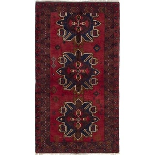 ECARPETGALLERY  Hand-knotted Rizbaft Red Wool Rug
