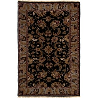 ECARPETGALLERY  Hand-knotted Royal Mahal Black Wool Rug
